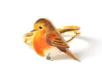 Hand drawn bird ring. Robin ring. Bird jewellery. Christmas stocking filler.