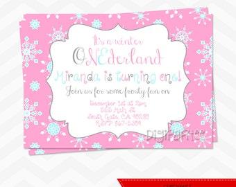 Pink Winter ONEderland Invitation