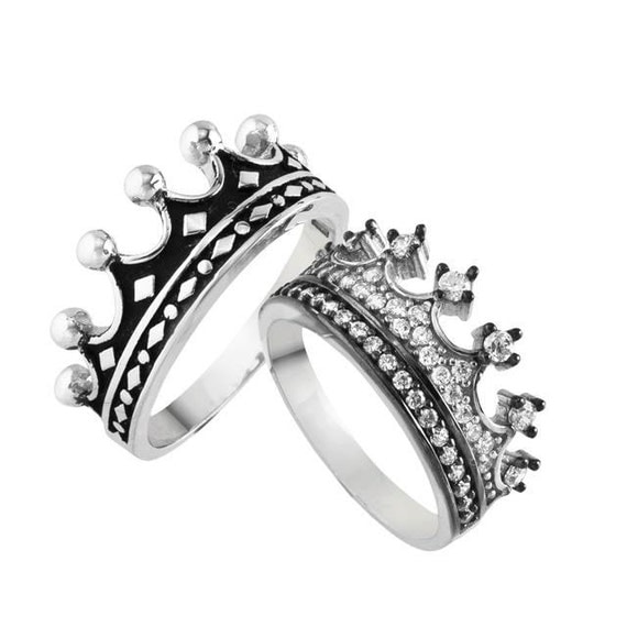 king and queen crown wedding rings king amp ring crown ring setgold crown ring925k silver 5313