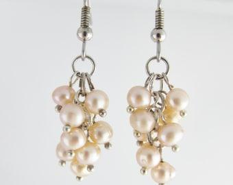 Pearl cluster dangle earrings on Sterling Silver 925, Natural Peach Freshwater pearls earrings, Pearl cluster earrings, Freshwater pearls