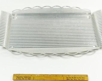 Large Vintage Rectangular Deco Aluminum Tray