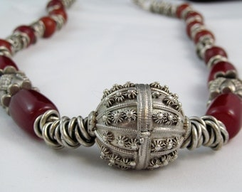 Statement Yemeni Silver and Red Amber Necklace. Silver and Red Long Necklace.