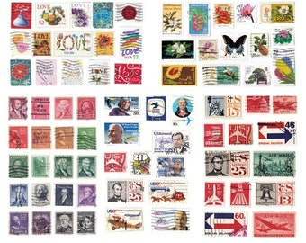 USPS Postage Stamp Collage POSTCARDS - set of 5 airmail planes presidents LOVE flowers butterly