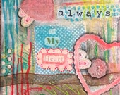 "On Sale! Original Mixed Media Painting ""Always in My Heart"". 12"" by 12"" wrapped canvas"
