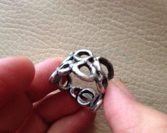 Oxidized silver hoop bubbles wide  band ring
