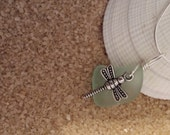 Soft Blue Sea Glass and Dragonfly Necklace
