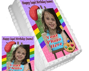 Personalized Edible Icing Frosting Image ADD A PHOTO Birthday Decal Decoration Cake Topper Painters Easel Artist Palette (E045)