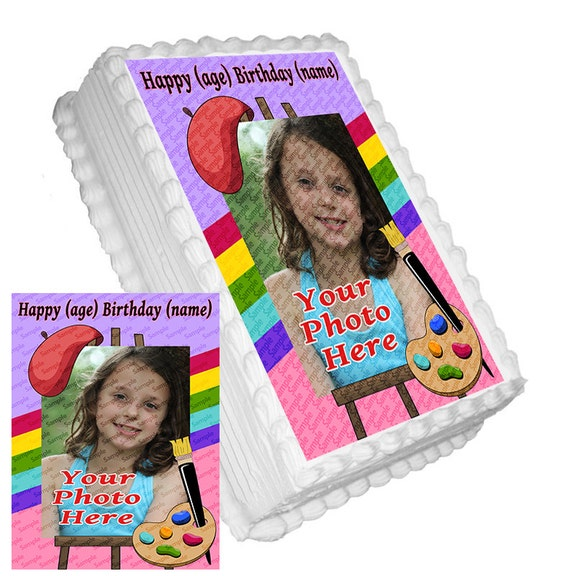 Art Easel Cake Topper : Personalized Edible Icing Frosting Image ADD A PHOTO Birthday