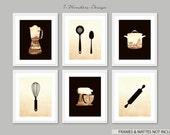 Kitchen Art Decor Vintage Art Print Set, Utensils Appliance Silhouettes // Modern Kitchen Art Decor Set of (6) 5 x 7 Art Prints // UNFRAMED