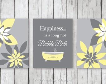 Modern Bathroom Art Prints Happiness is a Long Hot Bubble Bath  // Yellow, Gray - Bathroom Decor- Set of (3) 5x7 or 8x10 Unframed
