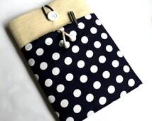 Kindle Case Nexus Sleeve Nook Cover Galaxy Tab, Dell Venue, Lenovo Tab Protective Case - SUPERIOR Shock Absorbent Padding - Navy Polka Dot
