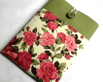 Fabric Foam Padded Kobo Case, Kobo Glo Cover, Kobo Touch Sleeve, Kobo Aura One, Aura H2O Case-Superior Shock Absorbent Padding - Pink Roses