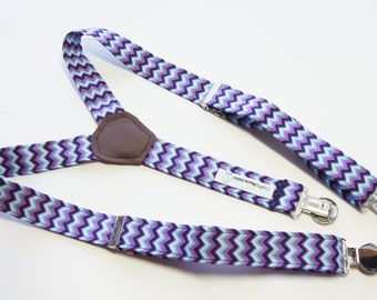 Suspenders - White Turquoise Purple Black Zig Zag Adjustable Suspenders