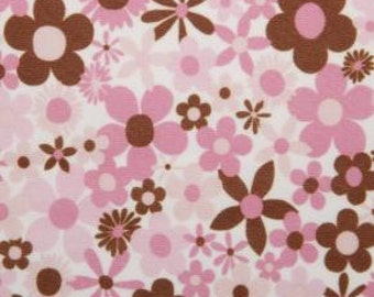 "1 Yard, Mod Girl Pink and Brown Flowers ""PUL"" (Polyurethane Laminate)"