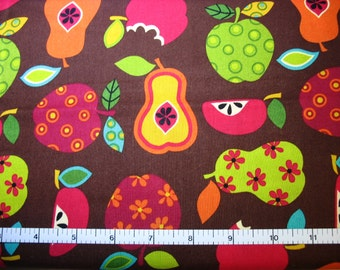 1 Yard, Multi Colored Fruit on Brown Cotton