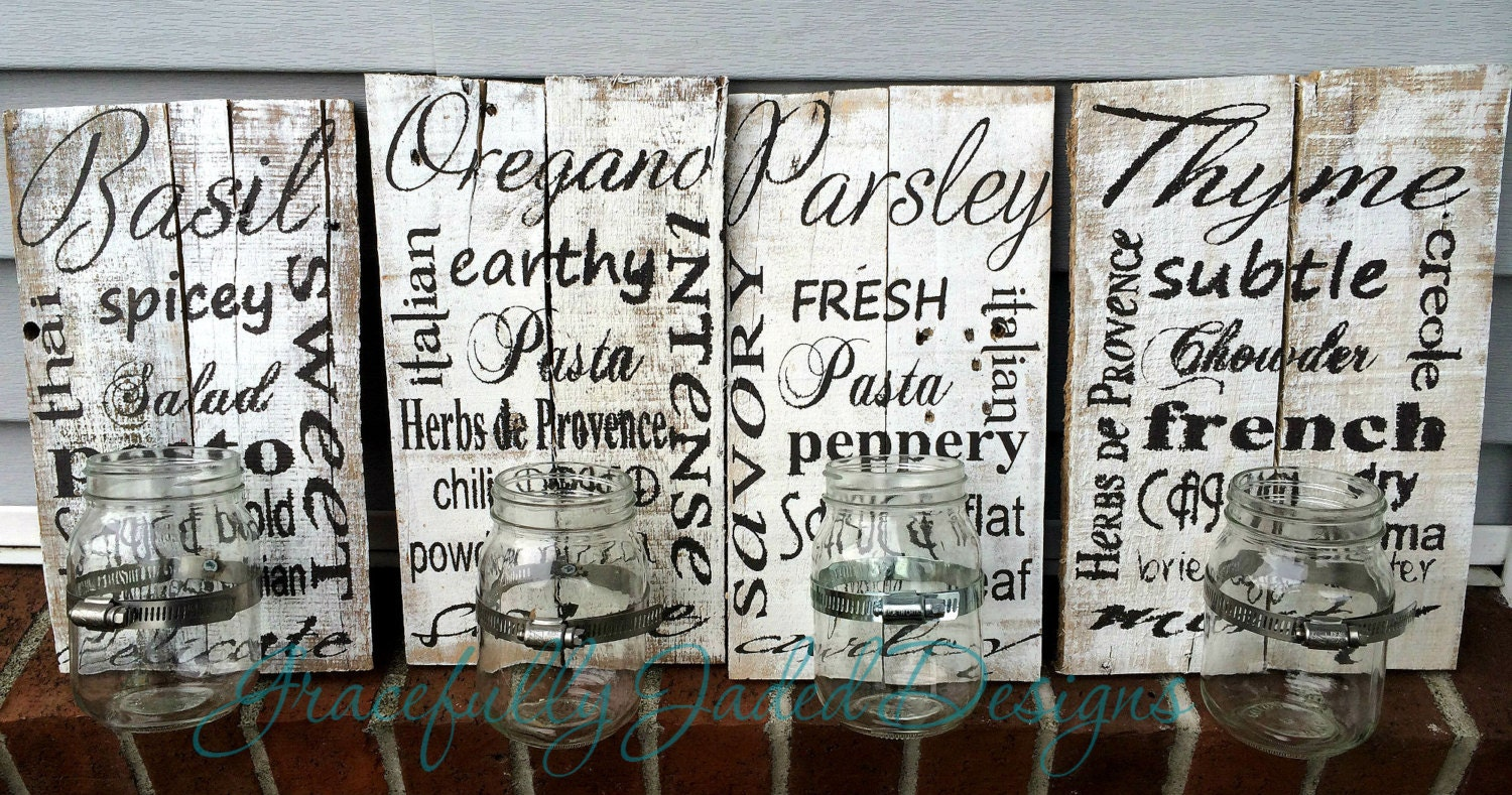 herb garden signs pallet herb gardens mason jar by gracefullyjaded