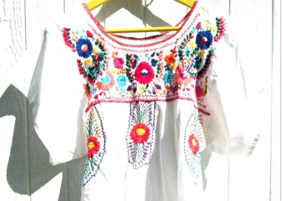 Boho vestido hippie largo campesino smocked vintage blanco