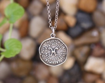 Pisces keyword pendant of Astrology Zodiac Sign, Birthday gifts, Sterling Silver Chain Included.