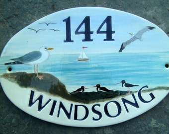 """Bespoke hand made, hand painted ceramic house sign, 12.5"""" x 8.5"""" approx."""