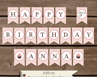 Add-on Your child's name matching a Happy Birthday Banner - Custom birthday printable - Build your Party - Personalization