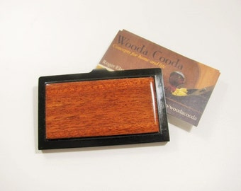 Ribbon Mahogany wood business card case. Wood card case, gift for men and women.