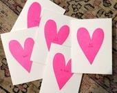Conversation Heart Letterpress Valentine Cards- set of 5