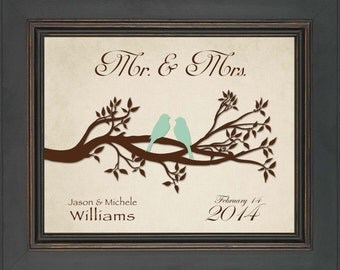 Valentine's Day Gift - 8x10 Print - First Anniversary Gift - Personalized Gift for Couple - Wedding Gift - any color combination