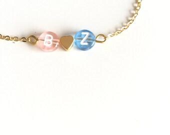 Personalized Love bracelet - Initial Bead - Heart bracelet - Customizable jewelry
