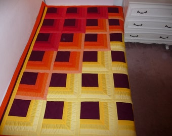 Free shipping. Queen Sized Quilt. Fire colors, yellow red orange.  Reserved for Shai, you can have the same quilt.