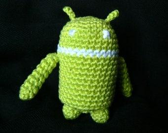 Figurine Green amigurumi crochet Bugdroid Android phone