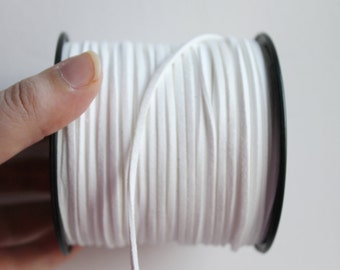 White  Suede cord - high quality soft faux cord 2 m - 2,18  yards or 6,5 feet