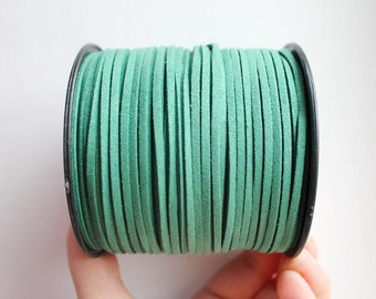 Dark green Suede cord - high quality soft faux cord 2 m - 2,18  yards or 6,5 feet