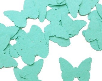 Aqua Blue Butterfly Shaped Plantable Seed Paper Confetti, Wildflower Seed, Recycled Paper  - 100 Pack