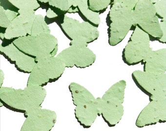 Green Butterfly Shaped Plantable Seed Paper Confetti, Wildflower Seed, Recycled Paper  - 100 Pack