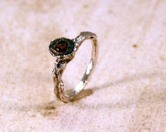 Organic Womans Engagement Ring Citrine  Sterling Silver   Jewelry Handmade  Metalwork Ring