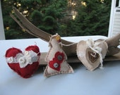 set of 3 christmas ornaments,vintage fabric,cotton fabric,rustic ,shabby chic,folkart,textured,lace,distressed look