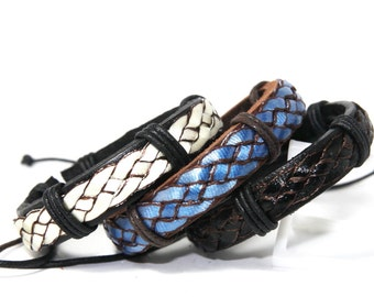 Real Leather Bracelet Couple Cuffs Leather Braid Wax Cord Layered Cuff - Fashion Accessories