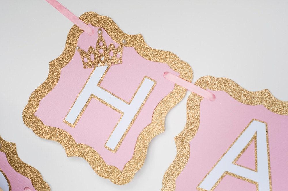 gold and pink happy birthday banner princess happy birthday
