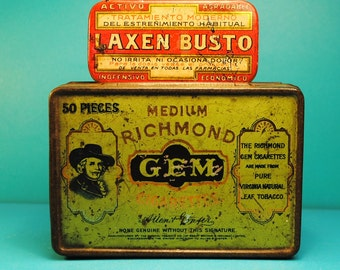 SaleTWO antique tobacco tin odd SPANISH laxative tin red and green GEM tobacco Richmond .odd and antique perfect for desk, office or vanity