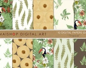 Floral Digital Paper 'Tropical' Ferns Leaves, Toucans, Wood... Instant Download for Scrapbook, Invitations, Decoupage, Crafts, Card...