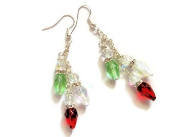 Crystal Christmas Bulb Earrings, Glass Dangle Earrings, Ear Jewelry, Colorful, Crystal, Holiday Jewelry