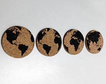 Globetrotting - Engraved Cork Coasters (Set of 4)