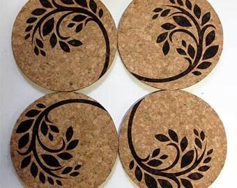 Spring Break - Engraved Cork Coasters (Set of 4)