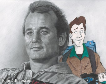 Bill Murray as Peter Venkman in Ghostbusters with Real Ghostbusters Peter Drawing Print