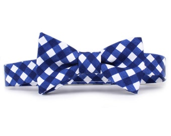 Boy's Bow Tie - Navy Gingham - Adjustable Hardware