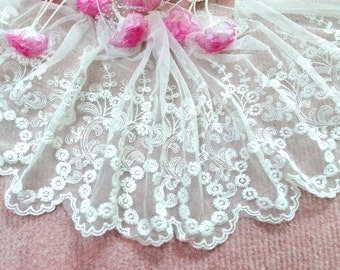 """CN019-7""""  White  Embroidered  Tulle Mesh Lace/Bridal/Lolita/  Trim by Yard"""