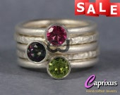 SALE 30% OFF - Mystic Green Topaz, Pink Topaz, Green Peridot Stacking Rings, Sterling Silver Gemstone Set of Five Stackable Rings, Stack