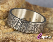 Handcrafted Men's, Women, Unisex Wood Bark, Tree Bark Texture Ring, 925K Oxidized Sterling Silver Thick Wedding Band - 6mm - FREE Engraving