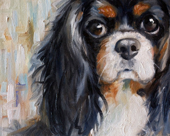 PRINT Cavalier King Charles Spaniel Dog Puppy Art Print Oil Painting Gift / Mary Sparrow of Hanging the Moon Studio[HangingtheMoonShelby/Etsy]