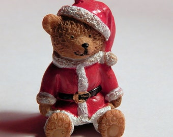 Doll House Teddy Bear In Santa Suit Sweater Sitting  - Christmas Tree Ornament - 1/12th Scale